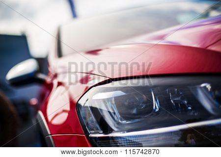 Closeup Headlights Of New Sport Car