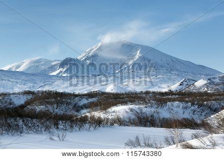 Winter Volcanic Landscape Of Kamchatka Peninsula