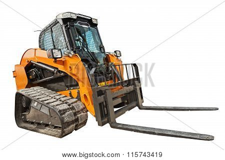 Modern Excavator Bulldozer With Clipping Path Isolated
