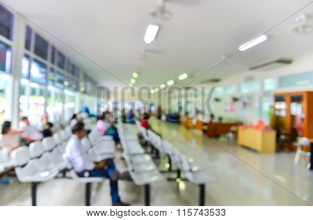 Blurred Background : Groups Of People Queuing Waiting Medication In Hospital