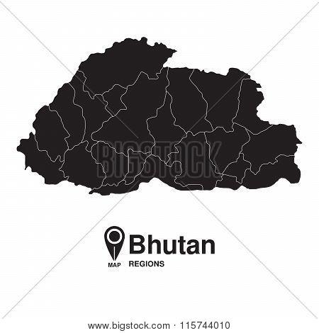 Regions Map Of Bhutan