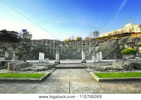 Roman Theater Of Lyon City During A Sunny Day, Lyon, France