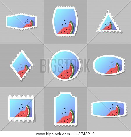 Collection Of Watermelon Postage Stamp