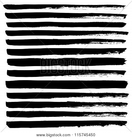 Black stripes background hand drawn with ink. Abstract grunge vector illustration.