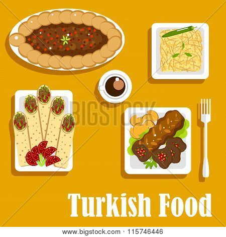 Turkish cuisine with kebab and shawarma