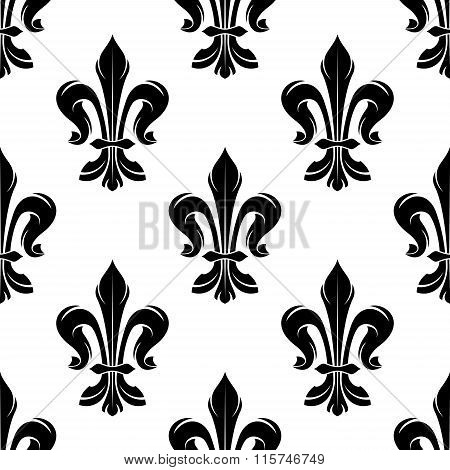 Black vintage fleur-de-lis seamless floral pattern