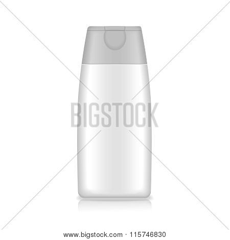 Shampoo, gel or lotion blank plastic bottle on white background Isolated.