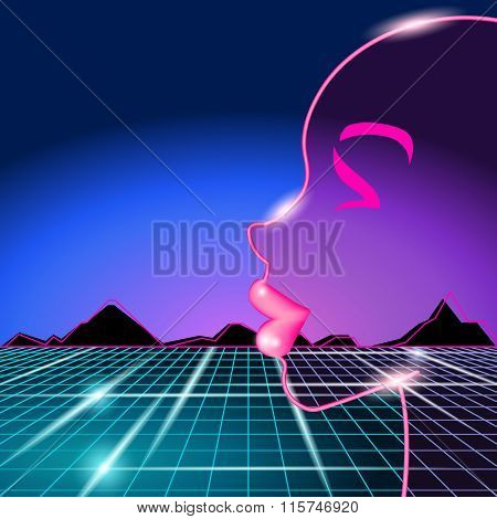 80s background with woman's face