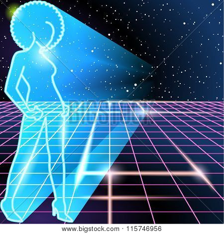 80s background with a neon outline of a woman