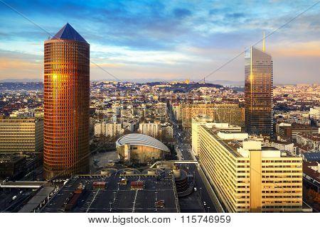 Incity And Part Dieu Tower At Lyon City, France