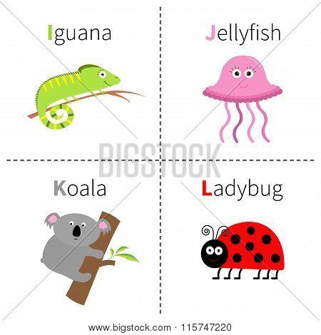 Letter I J K L  Iguana Jellyfish Koala Ladybug Zoo Alphabet. English Abc With Animals Education Card
