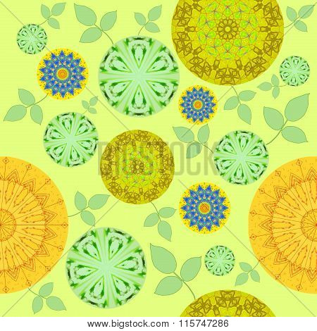 Seamless floral pattern yellow green blue