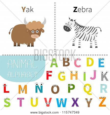 Letter Y Z Yak Zebra Zoo Alphabet. English Abc With Animals  Letters With Face, Eyes. Education Card