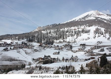 Dolomites skiing resort. Gardena.