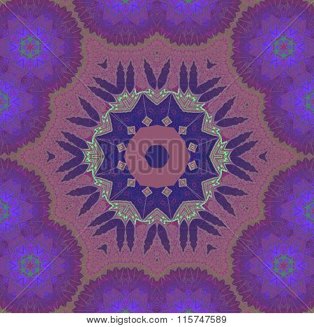 Seamless floral ornament red brown violet purple