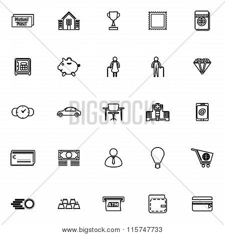 Personal Financial Line Icons On White Background