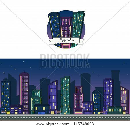 Night time vector background and icon of a modern big city downtown skyscraper house skyline for web