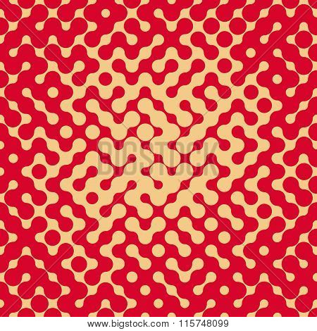 Vector Seamless Rounded Shape Halftone Gradient Irregular Retro Grungy Red  Tan Pattern