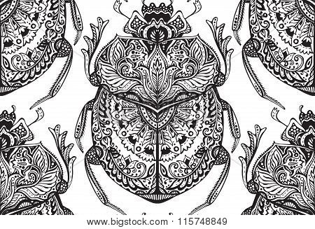 Vector Seamless Pattern With Hand Drawn Zentangle Scarabs