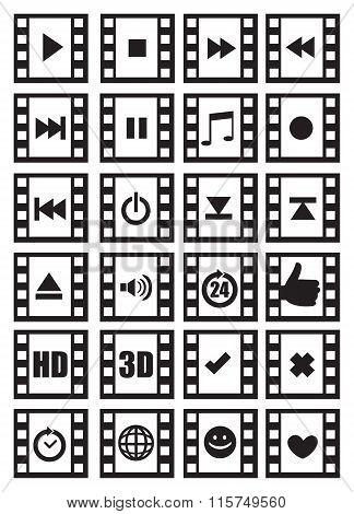 Media And Audio Symbols On Negative Film Vector Icon Set