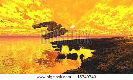 Spaceship flaming sunset