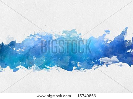 Artistic blue watercolor splash effect template with a band of irregular blue paint centred over a textured paper background