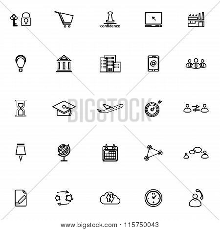 Business Connection Line Icons On White Background