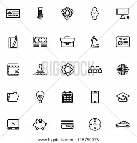Businessman Item Line Icons On White Background