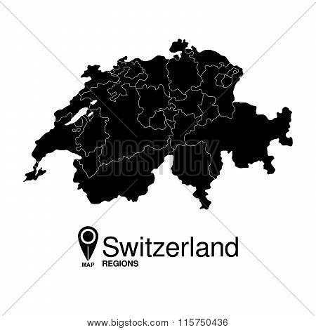 Regions Map Of Switzerland