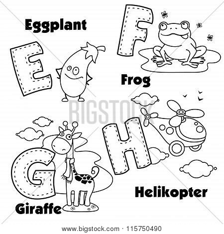 English alphabet and the letters E, F, G and H