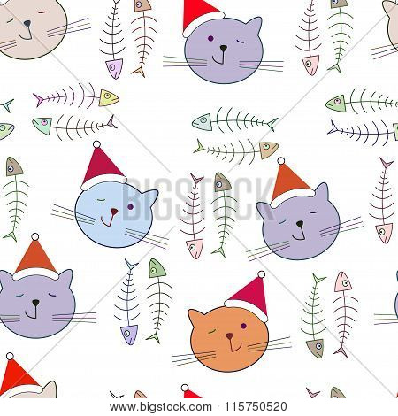 Seamless Pattern With Santa Cat