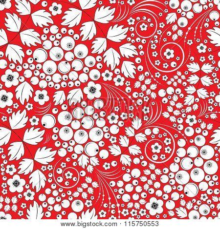 Khokhloma Vector Background Illustration.
