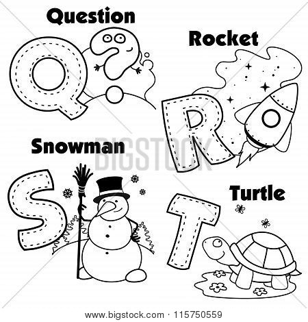 English alphabet and the letters Q, R, S and T