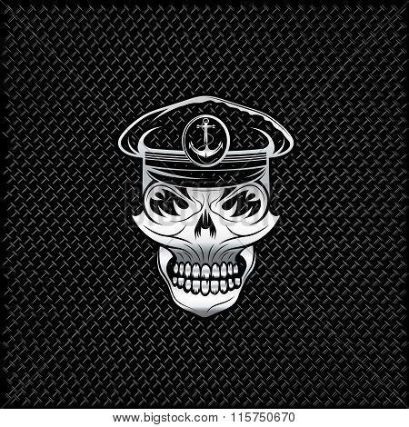 Silver Captain Skull On Metal Background