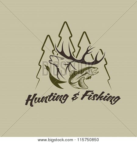 Hunting And Fishing Vintage Emblem Vector Design Template