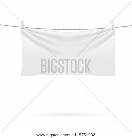 A Beach Towel Hanging On A Rope Isolated On A White Background.