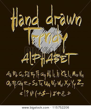 Hand Drawn Alphabet. Vector Set Of Calligraphic Acrylic Or Ink Alphabet. Black Background.  Letters