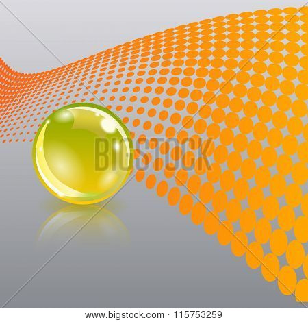 Abstract background with gold glass ball. High-tech concept.