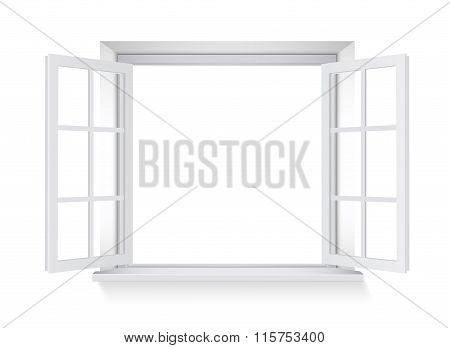 Opened Window. Vector Illustration.