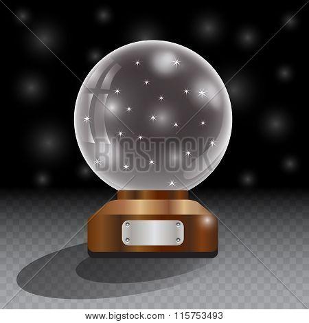 Glass globe on checkered background.