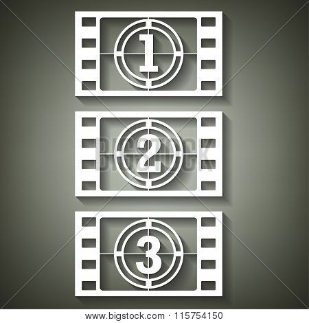 Film Countdown Numbers. Vector Illustration