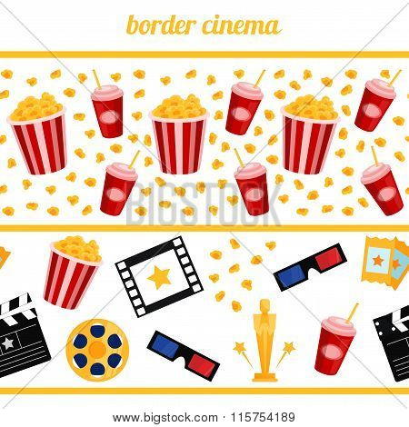 Sinema elements on a white background vector border seamless hor