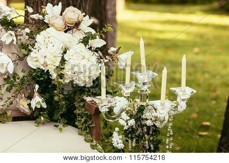 Luxury Wedding Decorations With Bench And Flower Compisition