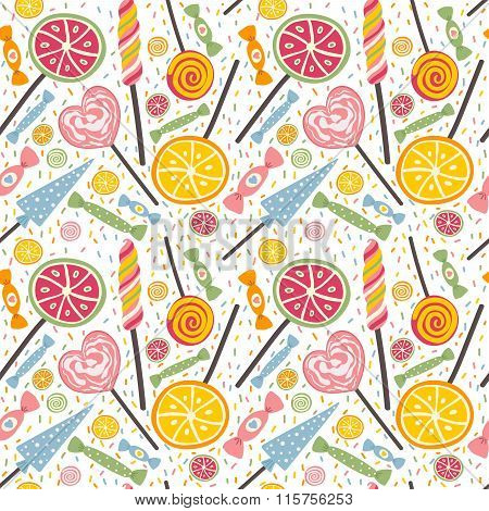 Yummy seamless pattern with candies and lollipops