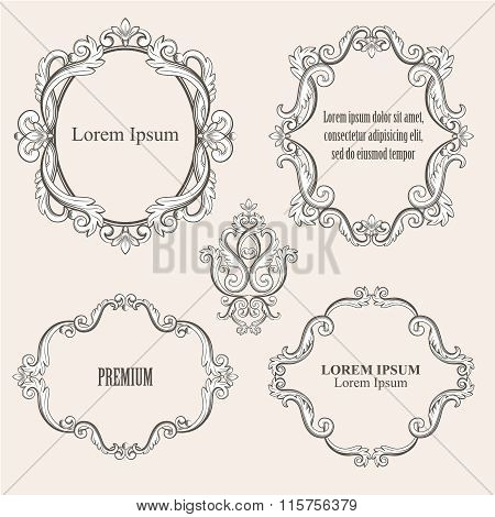 Set collection of baroque frames