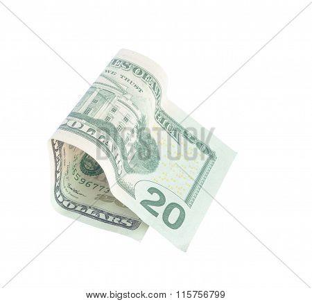 Twenty Dollars On A White Background