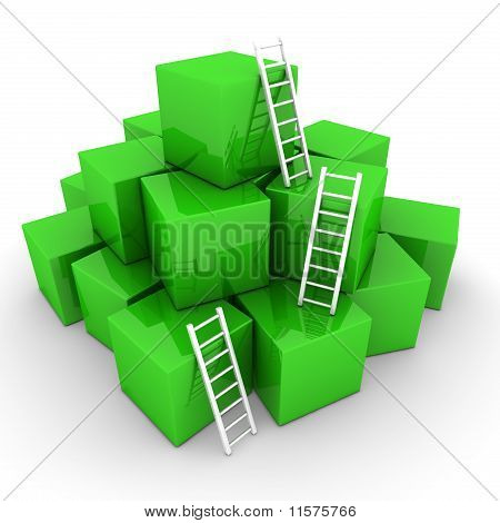Batch Of Shiny Green Boxes - Climb Up With Bright White Ladders