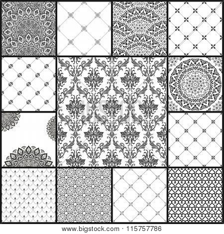 Vintage vector seamless background set in oriental style. Black and white monochrome wallpapers. Patterns for design. Traditional baroque decor