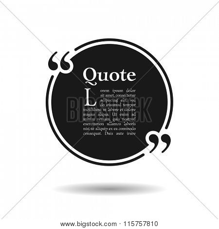 Quote empty text bubble. Frame ball is round. Quotes, comma, note, message, quote, blank, template, text, tags and comments. Dialog window. Vector design element. Black and white
