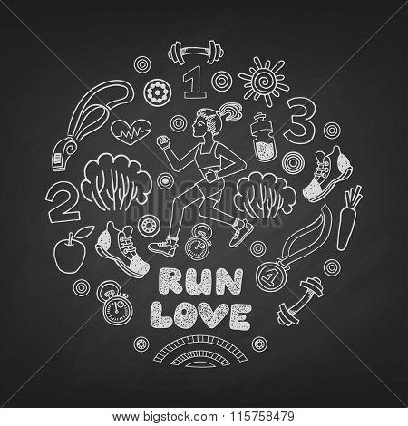 run vector icons set